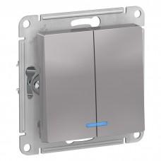 Механизм выключателя Schneider Electric AtlasDesign ATN000353 двухклавишный с индикатором алюминий