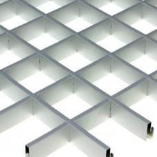 Потолок грильято Cesal CL Эконом металлик 86х86х37 мм