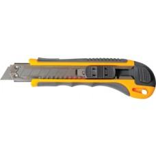 Нож 18 мм пластиковый обрезиненный корпус автоматическая фиксация, 4 лезвия Pobedit