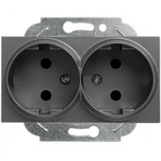 Механизм розетки Panasonic Karre Plus WKTT02042DG-RES двухместный без заземления темно-серый