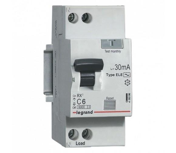 Автоматический выключатель дифференциального тока Legrand АВДТ RX3 419396 (1P+N) C 6A 30mA