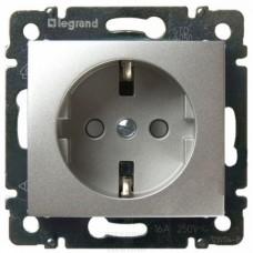 Механизм розетки Legrand Valena 770121 одноместный с заземлением и защитными шторками алюминий
