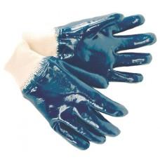 Перчатки синие обливные кислотоупорные, манжет