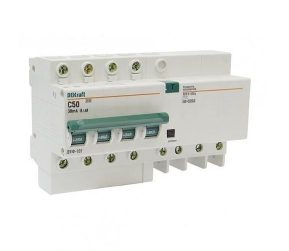 Автоматический выключатель дифференциального тока DEKraft ДИФ-101 4п C 50А 30мА тип AC 4.5кА