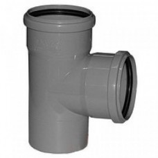Тройник канализационный ПП Ду 110х110х110 мм 90 градусов с кольцом серый