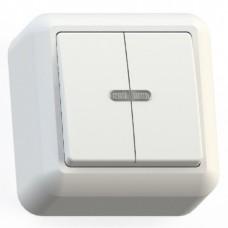 Выключатель Кунцево-Электро Оптима А510-387 двухклавишный с подсветкой белый