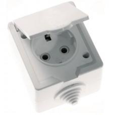 Розетка Кунцево-Электро РА16-660 IP44 одноместная с заземлением белая