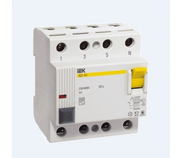 Автоматический выключатель дифференциального тока IEK ВД1-63 4P 25А 300мА
