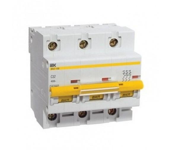 Автоматический выключатель IEK ВА47-100 3Р 32А C