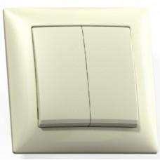 Выключатель Кунцево-Электро Селена С510-379 двухклавишный Слоновая кость
