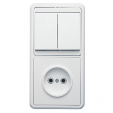 Блок розетки с выключателем Кунцево-Электро Бэлла БКВР-038 двухклавишный белый