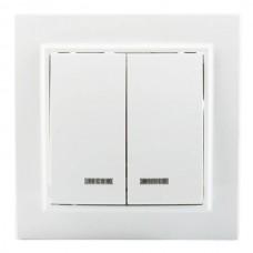 Выключатель EKF Минск ERV10-123-10 двухклавишный с индикатором белый
