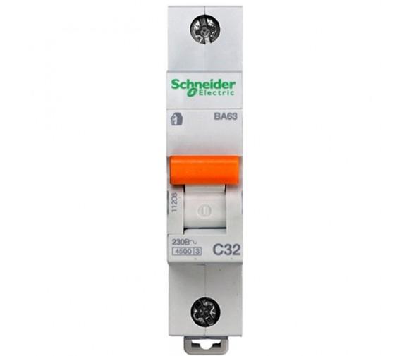 Автоматический выключатель Schneider Electric Домовой ВА63 1П C 32A 4,5кА