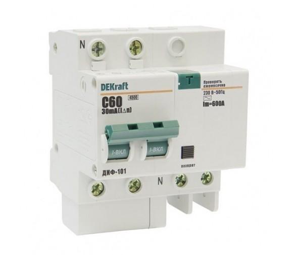 Автоматический выключатель дифференциального тока DEKraft ДИФ-101 2п C 60А 30мА тип AC 4.5кА