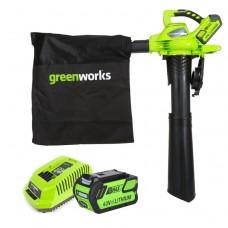 Воздуходув-пылесос аккумуляторный Greenworks GD40BVK3 с аккумулятором 3 А.ч и зарядным устройством