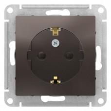 Механизм розетки Schneider Electric AtlasDesign ATN000645 одноместный с заземлением и защитными шторками мокко