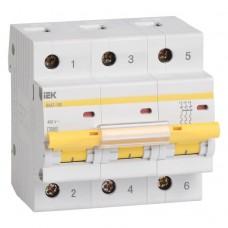Автоматический выключатель IEK ВА47-100 3Р 100А C