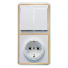 Блок розетки с выключателем Кунцево-Электро Бэлла БКВР-032 двухклавишный белый с золотом