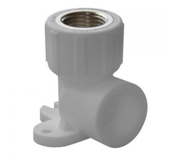 Угольник настенный PPR Политэк 20 мм 1/2 дюйма с внутренней резьбой белый