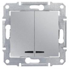 Механизм выключателя Schneider Electric Sedna SDN0300160 двухклавишный алюминий