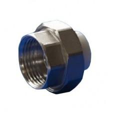 Муфта разъемная PPR Политэк 25 мм х 1 дюйм с внутренней резьбой белая