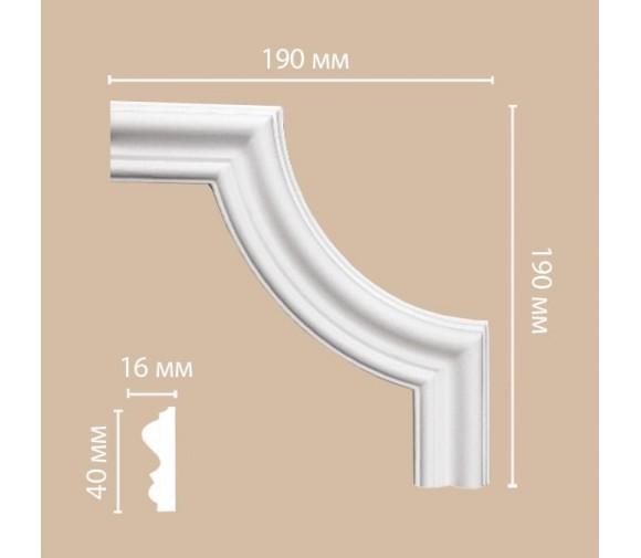Угол декоративный для молдинга Decomaster 97803-3 190х190х16 мм