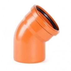 Отвод канализационный ПВХ 160 мм 45 градусов рыжий
