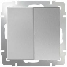 Механизм выключателя Werkel WL06-SW-2G-2W двухклавишный проходной серебряный