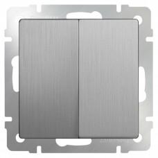 Механизм выключателя Werkel WL09-SW-2G-2W двухклавишный проходной серебряный рифленый