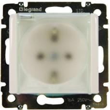 Механизм розетки Legrand Valena 774220 IP44 одноместный с заземлением и защитными шторками с крышкой белый