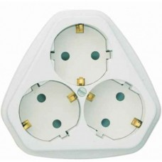 Розетка Кунцево-Электро РС10/16-503 трехместная с заземлением и защитными шторками белая