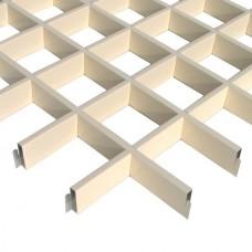 Потолок грильято Cesal Классический Эконом светло-бежевый 75х75х40 мм