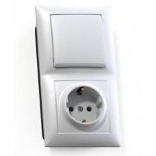 Блок розетки с выключателем Кунцево-Электро Селена БКВР-411 одноклавишный белый