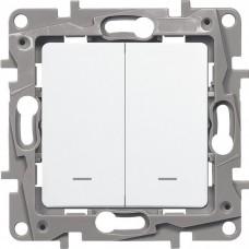 Механизм переключателя Legrand Etika 672216 двухклавишный с индикатором белый