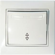 Выключатель одноклавишный проходной С/У. белый