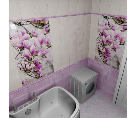 Стеновая панель ПВХ Novita фриз 3D Магнолия узор 2700x250 мм