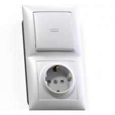 Блок розетки с выключателем Кунцево-Электро Селена БКВР-423 одноклавишный белый