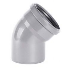 Отвод канализационный ПВХ Хемкор 3,2 Ду 50 мм 45 градусов с кольцом