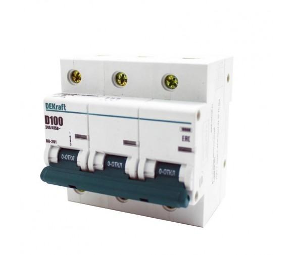 Автоматический выключатель DEKraft ВА-201 3п D 100А 10кА
