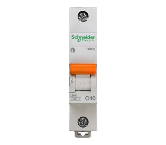 Автоматический выключатель Schneider Electric Домовой ВА63 1П C 40A 4,5кА