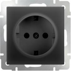 Механизм розетки Werkel WL08-SKGS-01-IP44 одноместный с заземлением и защитными шторкам черный матовый