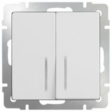 Механизм выключателя Werkel WL01-SW-2G-LED двухклавишный с индикатором белый