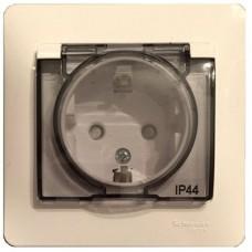 Розетка Schneider Electric Glossa GSL000248 одноместная с заземлением и защитными шторками с крышкой бежевая
