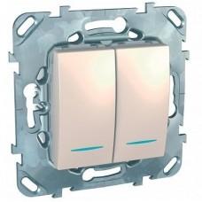 Механизм выключателя Schneider Electric Unica MGU5.0101.25NZD двухклавишный с индикатором бежевый