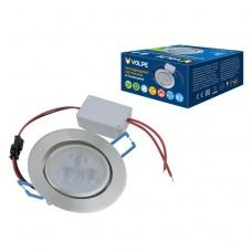 Светильник светодиодный встраиваемый Volpe ULM-Q262 3W/WW IP65 Silver