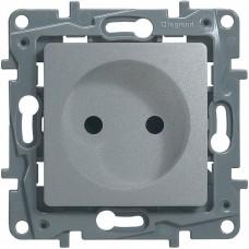 Механизм розетки Legrand Etika 672434 одноместный с защитными шторками алюминий