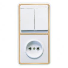 Блок розетки с выключателем Кунцево-Электро Бэлла БКВР-038 двухклавишный белый с золотом