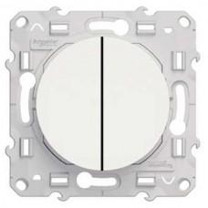 Механизм выключателя Schneider Electric Odace S52R211 двухклавишный с индикатором белый