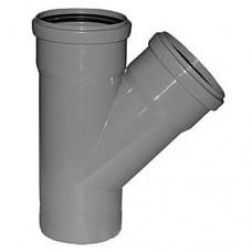 Тройник канализационный ПП Ду 110х110х110 мм 45 градусов с кольцом серый