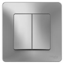 Выключатель Schneider Electric Blanca BLNVS010503 двухклавишный алюминий